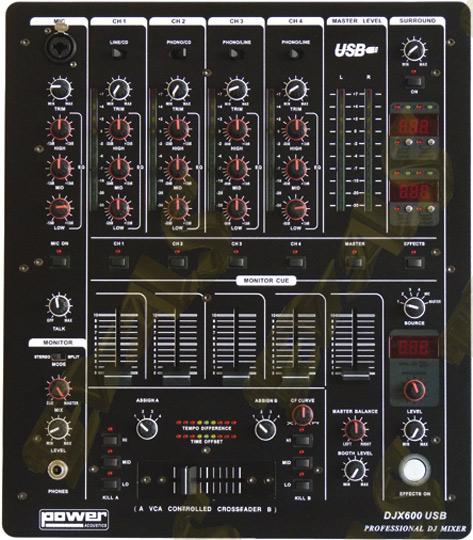 power acoustics djx 600 usb 249 tables de mixage. Black Bedroom Furniture Sets. Home Design Ideas